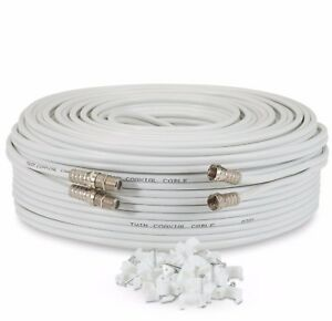 10m Metre White Twin Satellite Sky HD Extension Cable Lead Coax Shotgun Fitted