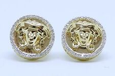 Mens Ladies 10K Yellow Gold 3D Medusa Real Diamonds Domed Stud Earrings 0.17 Ct