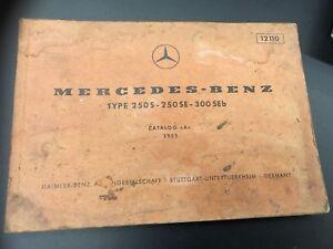 Mercedes Benz Parts Catalog >> Details About 1965 Mercedes Benz Parts Catalog A 250s 250se 300seb Vehicle Repair Manual 12110