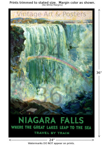Travel by Train Niagara Falls Vintage Railroad Travel Poster