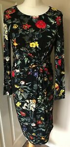 Joe-Browns-black-twisted-floral-dress-size-10-Vibrant-Eye-Catching