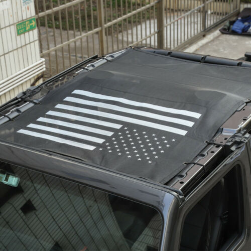USA Flag SunShade Durable Mesh Full Top Cover For 4Dr Jeep Wrangler JL 18 Black