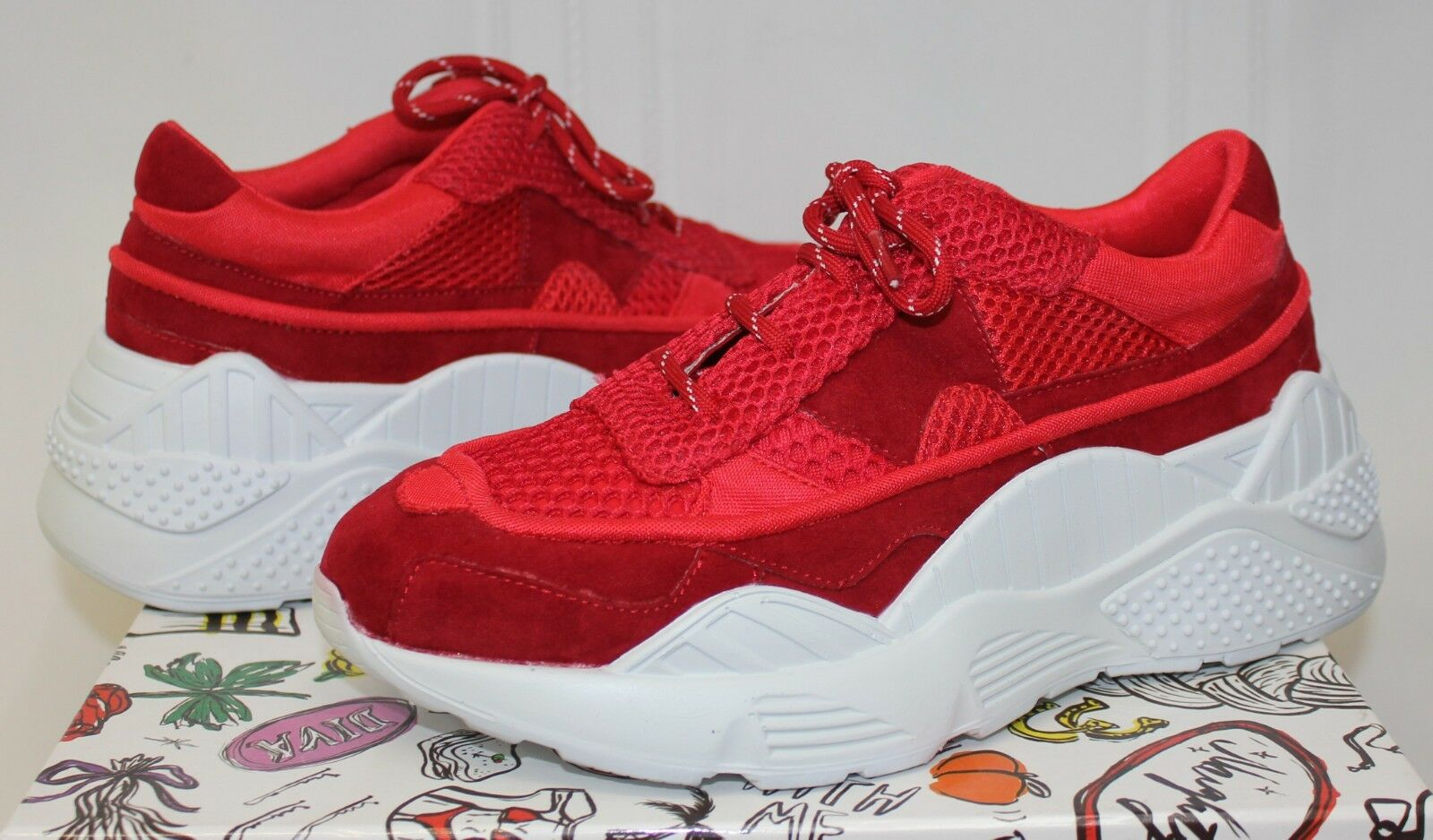 Jeffrey Campbell HDMI sneaker Rosso Mesh Combo NEW!