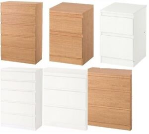 IKEA KULLEN CHEST OF DRAWERS BEDROOM FURNITURE IN WHITE & OAK 2, 3 ...