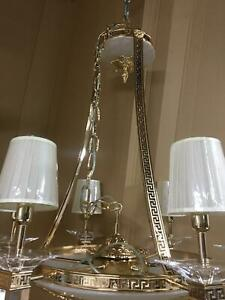 Deckenleuchter Chandelier Gold Mäanderkante Acryl-Glas 6 Lampenschirm beige