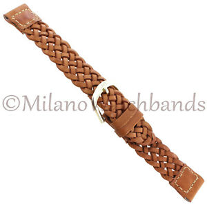 16mm-Speidel-Tan-Brown-Braided-Genuine-Calfskin-Leather-Mens-Watch-Band-Short