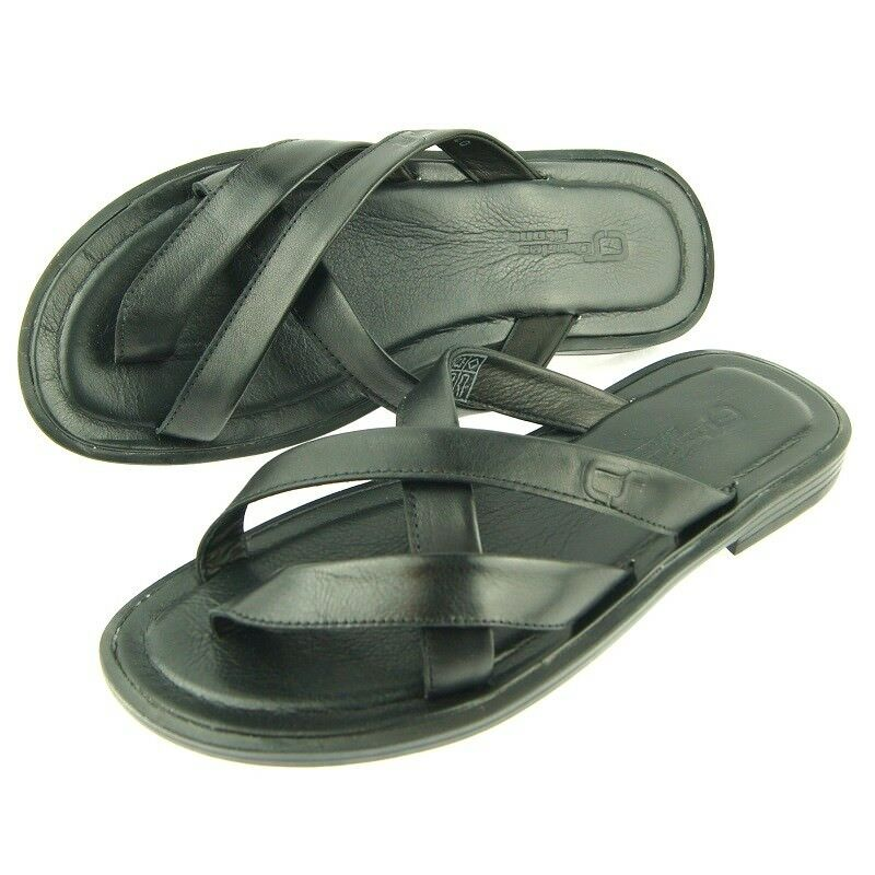 Charles Stone Leather Men's Split-Toe Slide Sandals, Black 7-12US 40-45EU