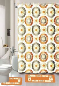 Orange Dandelion 15-Piece Bathroom Set Bath Rugs Shower Curtain Rings Circle