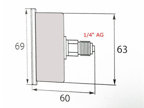 """Hochdruckmanometer Manometer 250 bar 1//4/"""" AG für Kränzle glyceringedämpft"""