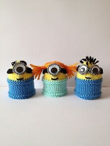 MINIONS-EGG-COSY-KNITTING-PATTERN-NEW-SUITABLE-FOR-BEGINNERS