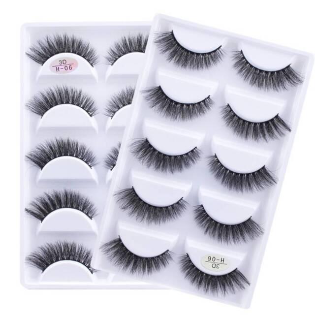 5 Pairs Soft Natural Mink Hair Fake Eyelashes 3D Handmade Eyelashes Makeup Tools