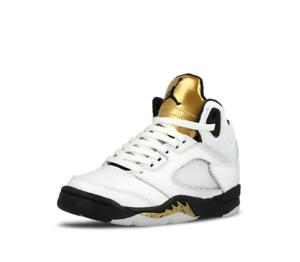 4f522bba9e5518 Air Jordan 5 Retro BP   440889 133 Gold White Black Pre School Sz ...