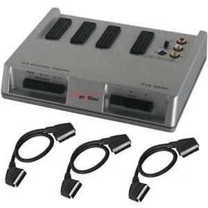 SCART UMSCHALTER - VERTEILER - BOX mit 3 x SCARTKABEL - Audio Video - SPAR-SET