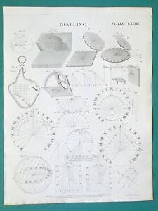 SUNDIALS-Construction-Roman-Dial-Portable-East-West-1814-Antique-Print