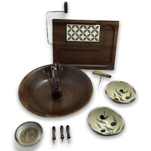 MCM-Walnut-Nutcracker-Wood-Bowl-Cheese-Tray-Corkscrew-Dip-Dishes-lt-GREAT-GIFT