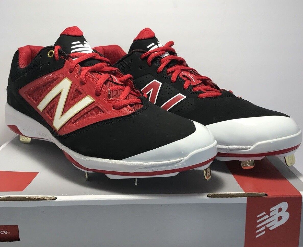 New Balance Mens Size 12 Low Metal Baseball Cleats Black Red gold White