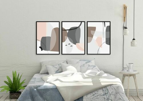 Abstract Wall Art Set of 3 Framed Modern Prints Nordic Designs Geometric Posters