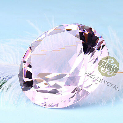 PINK Crystal Glass Diamond Jewel Huge Paperweight Wedding Decoration Gifts