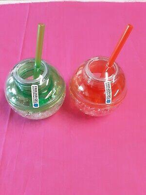 Mainstays Tumbler Double Wall Party Ball Neon Orange-Freezer Gel New