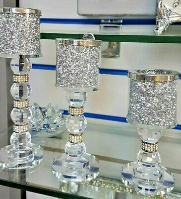 Set Of 3 Crushed Diamond Candle Holder Sparkly Silver  Crystal Faceted Balls