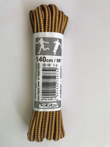 Round Shape Tobby Brown /& Gold Walking Boot Laces 140 cm 100/% Polyester