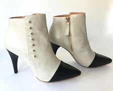 NEW JOIE TWO TONE 37 6.5 LEATHER ANKLE BOOTS SPATS RIVETS HIGH HEEL BLACK CREAM