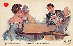 SHALL WE PLAY TO HEARTS? GEORGE R BRILL ARTIST DRAWN ROMANCE-1906 POSTCARD