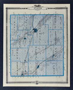1875 Iowa Map Floyd County Charles City Cedar Falls Waterloo La