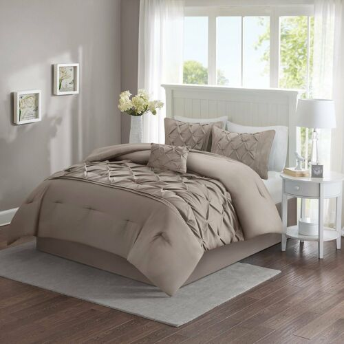 Includes Comforter, Cavoy Comforter Sets Piece Tufted Pattern Taupe King Size