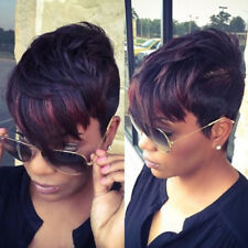 Synthetic Short Natural Curly Hair Full Black Pixie Cut Wig For