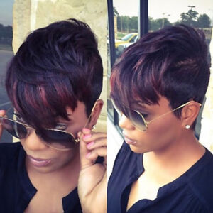 Pixie Cut Full Short Black Hair Wigs Synthetic For Women With Bangs