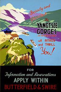 "Vintage Travel Poster *FRAMED* CANVAS PRINT Yangtze Gorges China 20x16"""