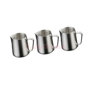 3x 350ML Stainless Steel Coffee Milk Frothing Jug Garland Cup with Scale Cup