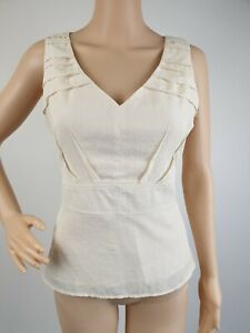 Veronika-Maine-Cream-V-Neck-Sleeveless-Formal-Career-Top-Blouse-Size-10
