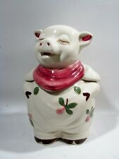 Midcentury Shawnee Pottery Smiley Pig Cookie Jar Clover Blossom