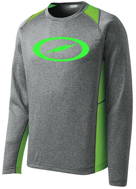 Storm Men's Fight Performance Bowling Shirt Long Sleeve Heather Lime Green
