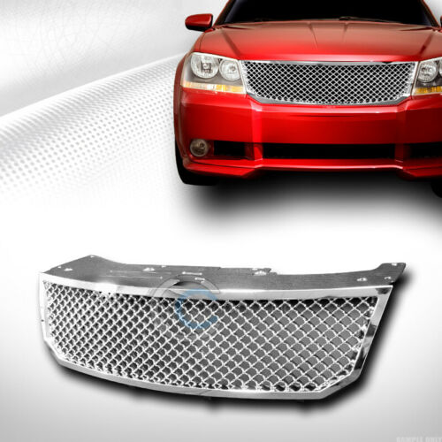 Fits 08-10 Dodge Avenger Chrome Mesh Front Hood Bumper Grill Grille Guard ABS