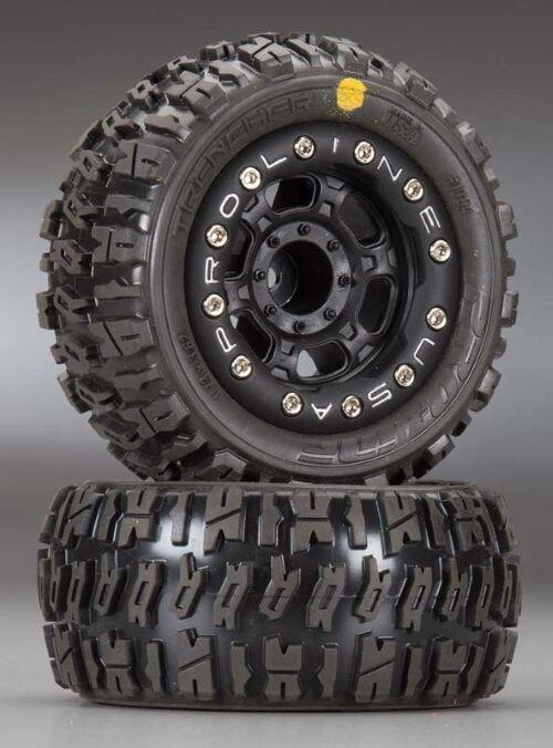 Pro-Line 1194-13 Mounted Bead-Loc Trencher 2.2  Tires Wheels (2) 1 16 E-Revo