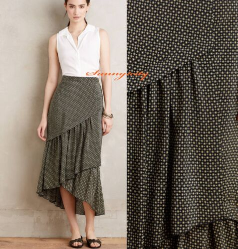 NEW Anthropologie Tiered Silk Midi Skirt by HD in Paris sz 14 Silk $228 ELEGANT