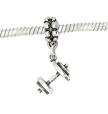 STERLING SILVER DANGLING WEIGHTLIFTING DUMBBELL BARBELL EUROPEAN BEAD