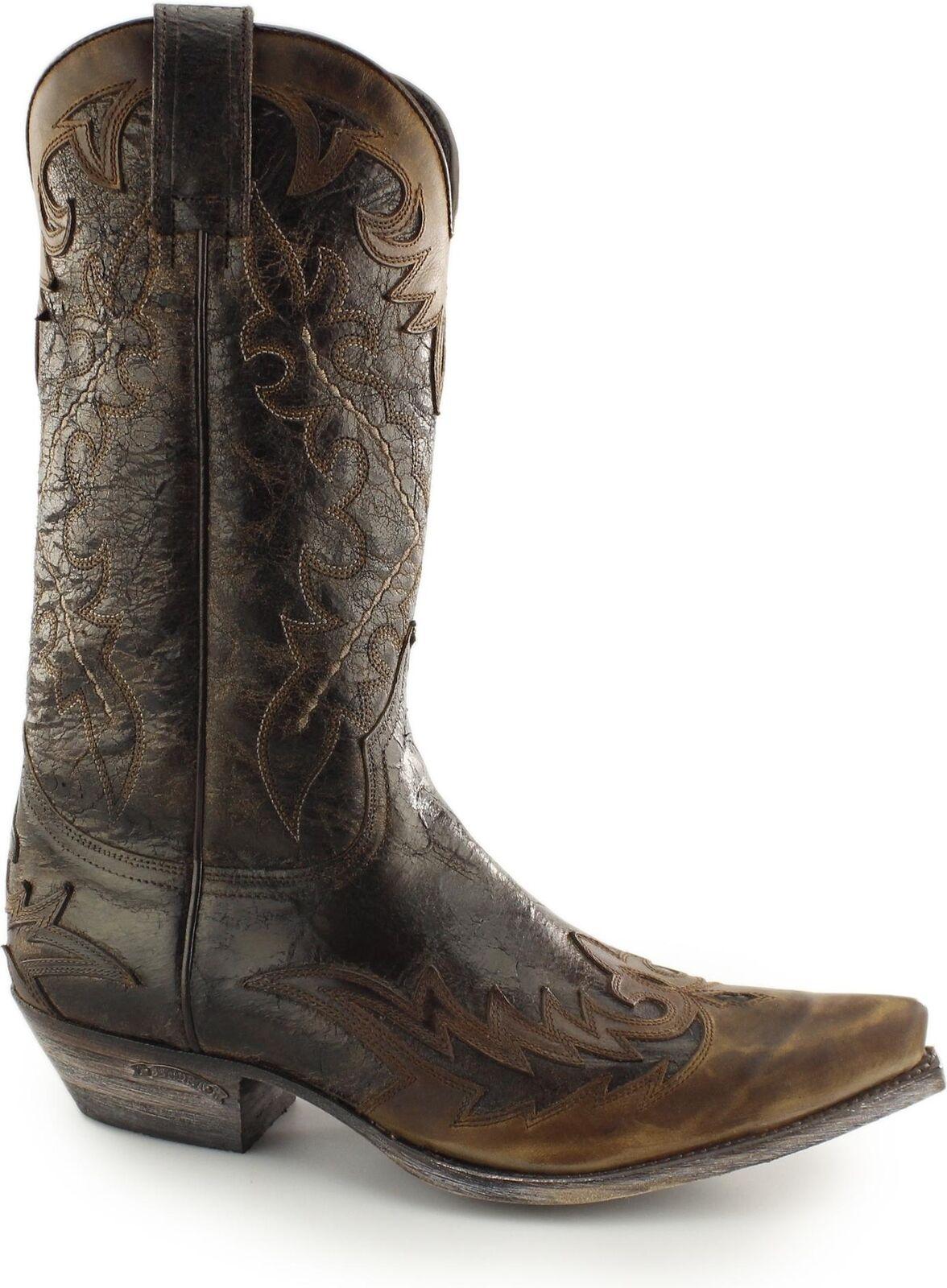 Sendra 9669 Spanish Mens Leather Mid Calf Cowboy Western Boots Flota Brown Tan