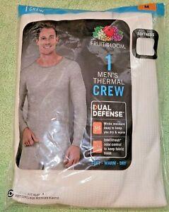 Men's Fruit Of The Loom Dual Defense Thermal Crew Shirt Top Natural Size M NEW
