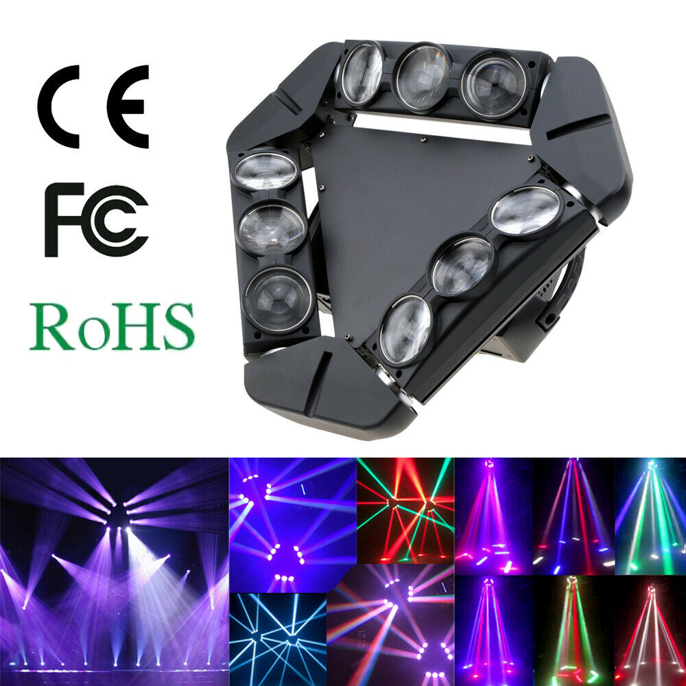 140W 9LED RGBW Rotierende Spider Stage Lighting Disco Party Beam Light DMX512 R8O0