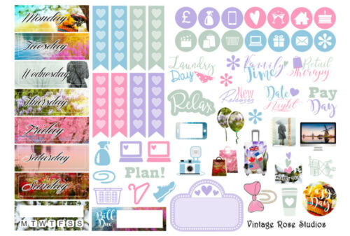 Spring Fling Photographic Vertical Weekly Kit Planner Stickers for Erin Condren