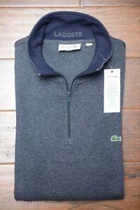 Lacoste SH1462 Men's 1/4 Zip Mock Neck Dark Gray 100% Cotton Sweat Sweater 3XL 8