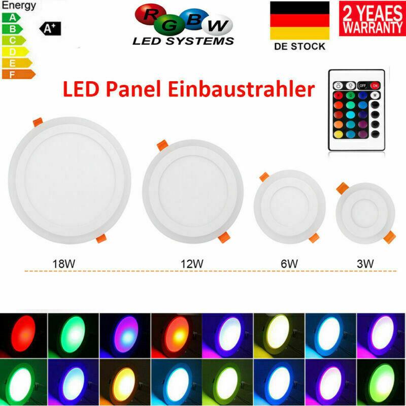 RGB LED Panel Einbaustrahler Rund Deckenleuchte Einbau Leuchte Dimmbar Licht