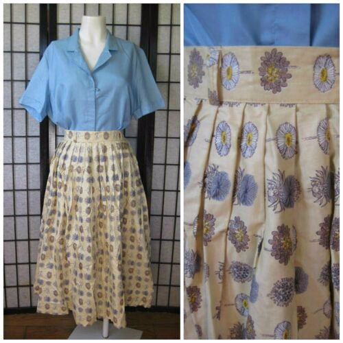 Vintage 1950s 1960s Skirt Circle Style Beige Cream