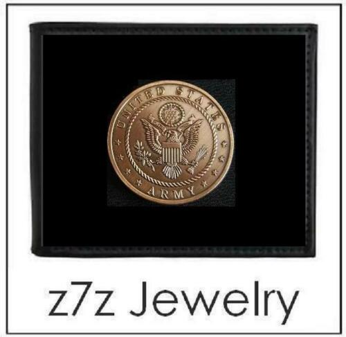bifold black leather w// brz medallion insignia z7qq US ARMY Emblem Men Wallet