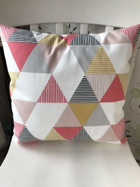 "Clarke and Clarke Brio Geometric 16"" Cushion Cover Coral Pink Grey"