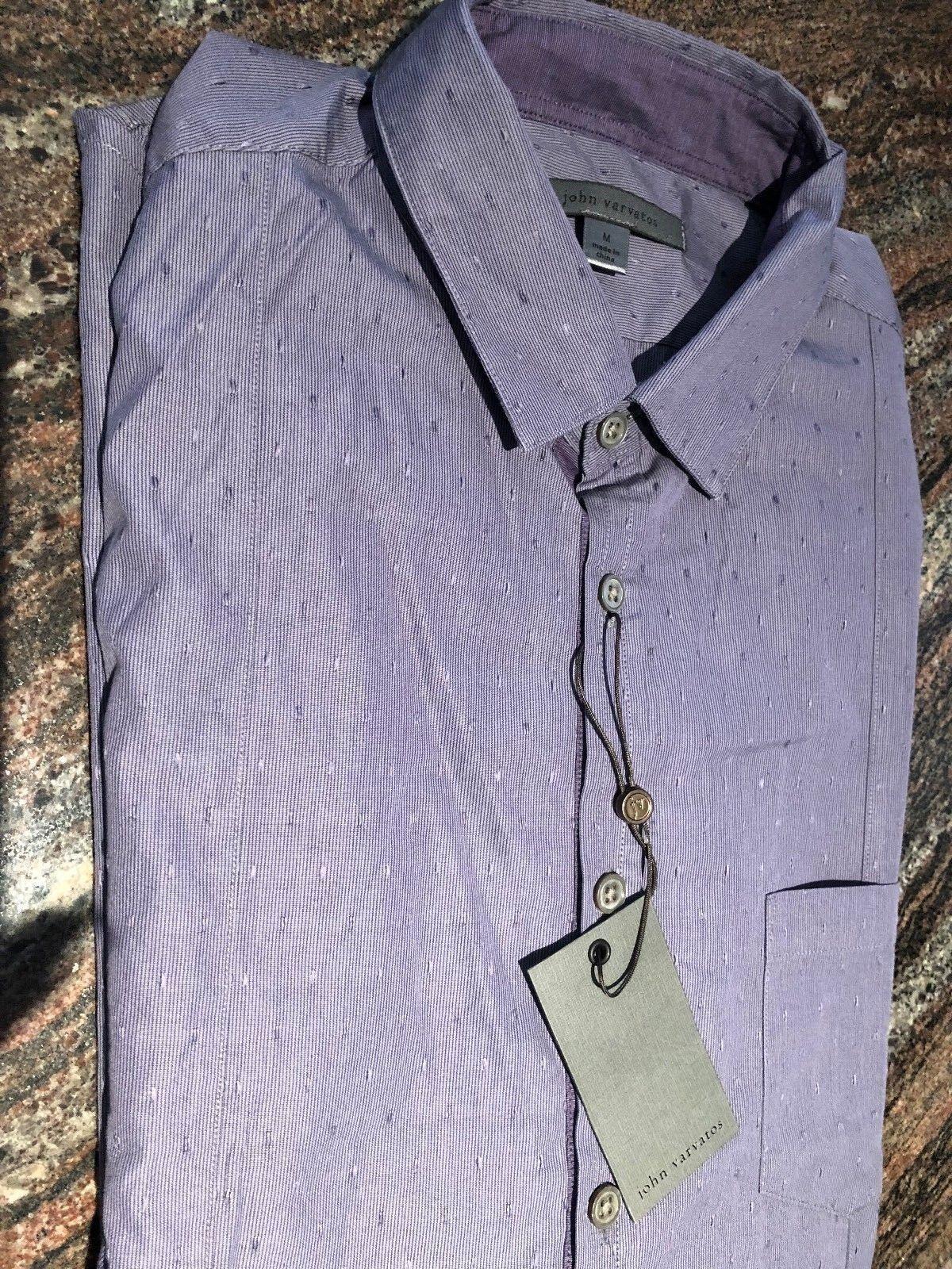 NEW John Varvatos Men's Purple Cotton Slim Fit Button Down Dress Shirt  Size M